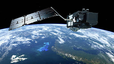 Sentinel-3 Satellite In Orbit Print by Atg Medialab/esa