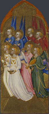Seraphim Angel Painting - Seraphim Cherubim And Adoring Angels by Jacopo di Cione and Workshop