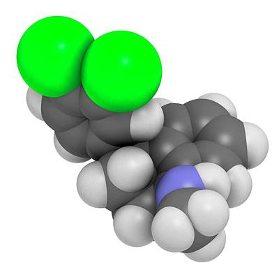 Antidepressant Photograph - Sertraline Antidepressant Drug Molecule by Molekuul