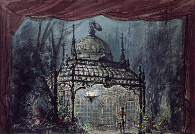 Stage Lights Drawing - Set Design For The Magic Flute By Wolfgang Amadeus Mozart  by French School