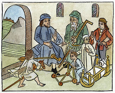 Cycles Painting - Seven Ages Of Man, 1485 by Granger