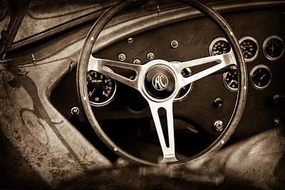 Shelby Ac Cobra Steering Wheel Emblem Print by Jill Reger