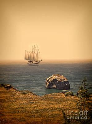 Ship Off The Coast Print by Jill Battaglia
