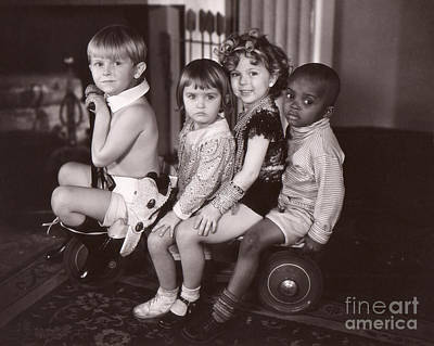 Shirley Temple Photograph - Shirley Temple And Gang - Sepia by MMG Archives