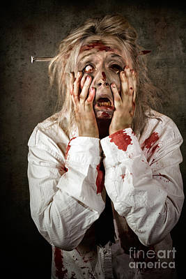 Shock Horror. Surprised Businesswoman Zombie Print by Jorgo Photography - Wall Art Gallery