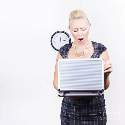 Aghast Photograph - Shocked Accounting Employee Holding Open Briefcase by Jorgo Photography - Wall Art Gallery