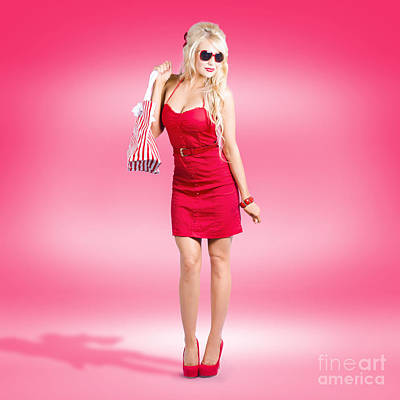 Shop Till You Drop. Female Retail Shopper In Red Print by Jorgo Photography - Wall Art Gallery