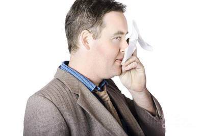Sick Business Man With Cold And Flu Cough Print by Jorgo Photography - Wall Art Gallery