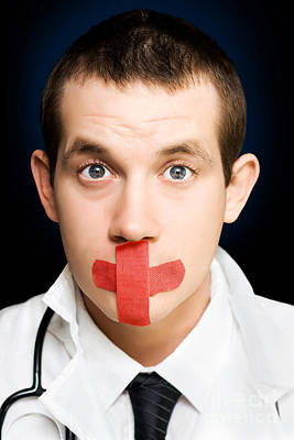 Disclosure Photograph - Silent Handsome Doctor With Cross Bandage On Face by Jorgo Photography - Wall Art Gallery