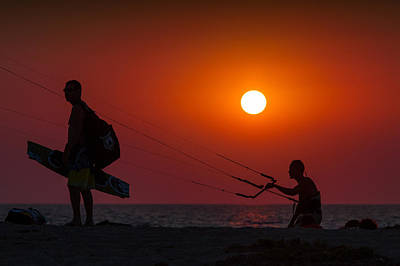 Silhouette Of A Kitesurfer Sailing At Sunset Original by Dan Mirica
