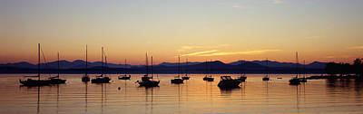 Silhouette Of Boats In A Lake, Lake Print by Panoramic Images