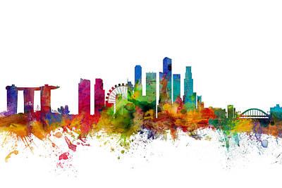 Singapore Digital Art - Singapore Skyline by Michael Tompsett