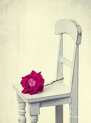 Single Red Rose Print by Edward Fielding