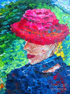 Reds Painting - Sisy With Hat Oil Painting  by Mario Perez