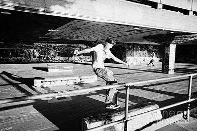 skateboarder at the undercroft skate park of the southbank centre London England UK Print by Joe Fox