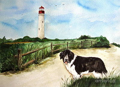 Newfie Painting - Skipper At Cape May Light  by Nancy Patterson