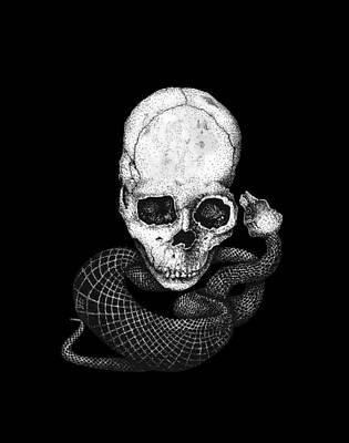 Concept Art Inks Drawing - Skull And Snake by Jakub DK