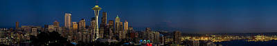 Seattle Skyline Photograph - Skyscrapers In A City, Space Needle by Panoramic Images