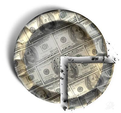 Slice Of Us Dollar Money Pie Print by Allan Swart