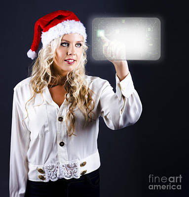Buying Online Photograph - Smart Woman Shopping Online For Christmas Presents by Jorgo Photography - Wall Art Gallery