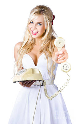 Smiling Woman With Retro Telephone Print by Jorgo Photography - Wall Art Gallery