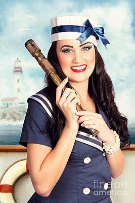 Nautical Jewelry Photograph - Smiling Young Pinup Sailor Girl. American Navy by Jorgo Photography - Wall Art Gallery