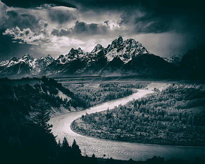Ravine Photograph - Snake River In The Tetons - 1930s by Mountain Dreams