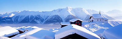 Snow Covered Chapel And Chalets Swiss Print by Panoramic Images