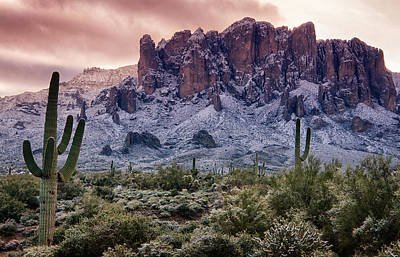 Snow Day At The Superstitions  Print by Saija  Lehtonen