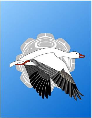 Snow Goose And Moon Print by Fred Croydon