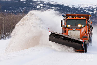 Snow Plough Clearing Road In Winter Storm Blizzard Print by Stephan Pietzko