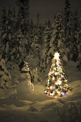 Snowy Night Photograph - Snowman Stands In A Snowcovered Spruce by Kevin Smith