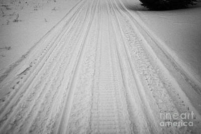 snowmobile tracks in the snow Kamsack Saskatchewan Canada Print by Joe Fox