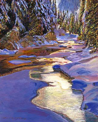 Snowy Creek Print by David Lloyd Glover