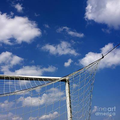 Net Photograph - Soccer Goal Net Against Cloudy Sky by Bernard Jaubert