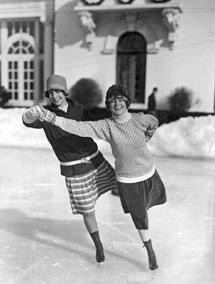Society Ice Skating In Tuxedo, Ny Print by Underwood Archives