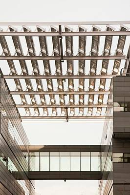 Solar Panels On The Alan Turing Building Print by Ashley Cooper