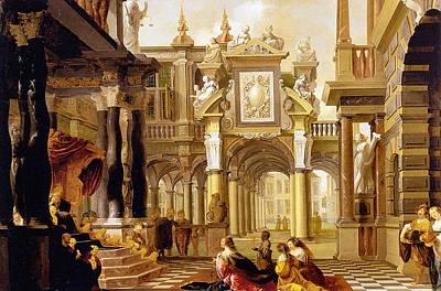 Solomon Painting - Solomon Receiving The Queen Of Sheba by Dirck van Delen