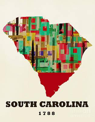 World Map Poster Painting - South Carolina State Map Modern by Bri B