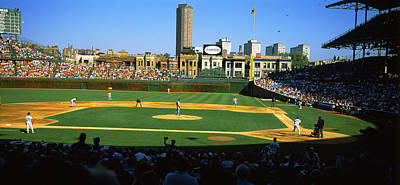 Chicago Cubs Stadium Print featuring the photograph Spectators In A Stadium, Wrigley Field by Panoramic Images