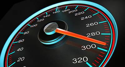 Speedometer Fast Speed Print by Allan Swart