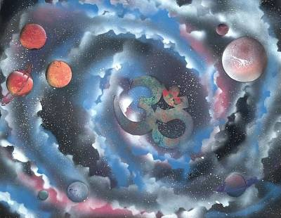 Planets Painting - Spiral Galaxy Om by Thomas Roteman