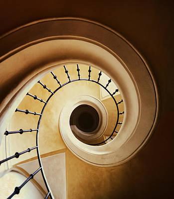 Spiral Staircase In Browns Print by Jaroslaw Blaminsky