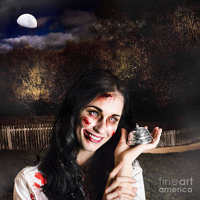 Spooky Girl With Silver Service Bell In Graveyard Print by Jorgo Photography - Wall Art Gallery