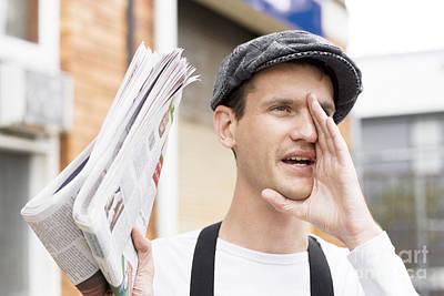 Spruiking Newspaper Boy Print by Jorgo Photography - Wall Art Gallery