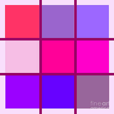 Repetition Painting - Squares - Pink by Celestial Images