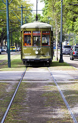 St Charles Avenue Photograph - St Charles Avenue Trolley Train Rolling Through The Garden Distr by ELITE IMAGE photography By Chad McDermott
