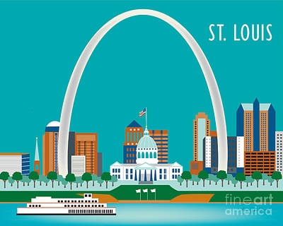City Center Digital Art - St. Louis by Karen Young