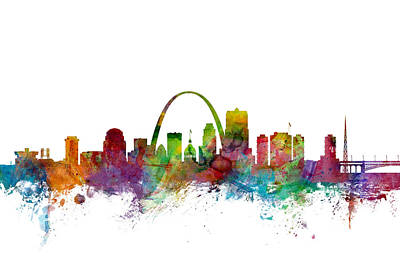 Missouri Digital Art - St Louis Missouri Skyline by Michael Tompsett