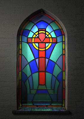 Ethereal Digital Art - Stained Glass Window Crucifix by Allan Swart